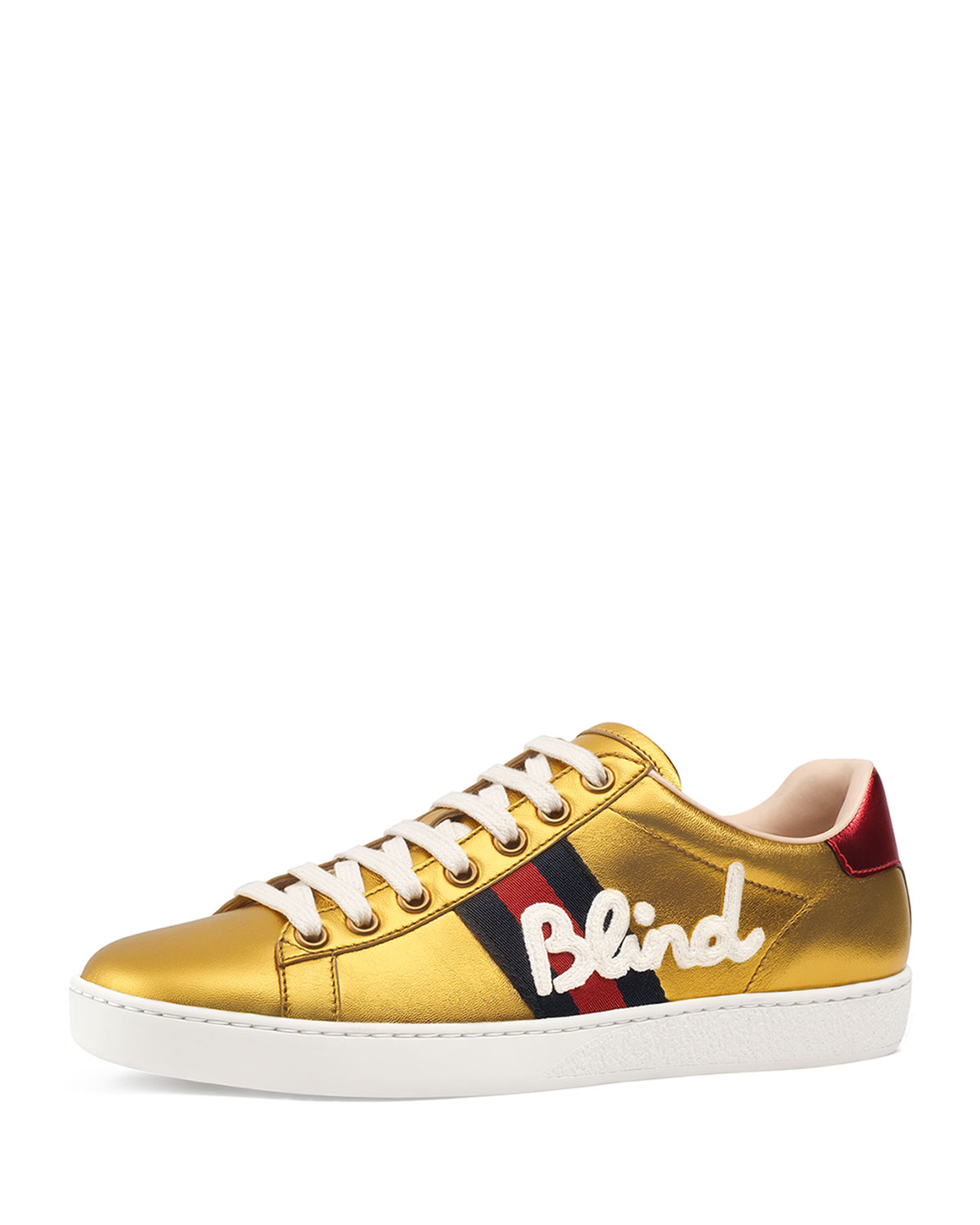 8ac321fe846e Gucci New Ace Blind For Love Metallic Trainer