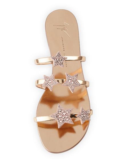 Metallic Leather Star Slide Sandal