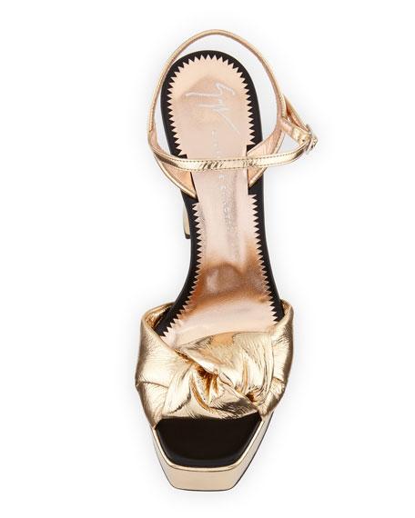 Knotted Metallic Platform Sandal, Gold