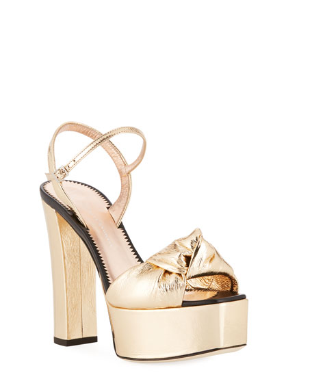 Knotted Metallic Platform Sandals, Gold