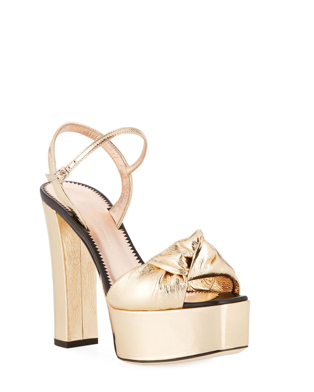 1030d756b37 Quick Look. Giuseppe Zanotti · Knotted Metallic Platform Sandals ...
