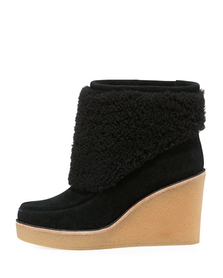 Coldin Shearling Wedge Bootie, Black