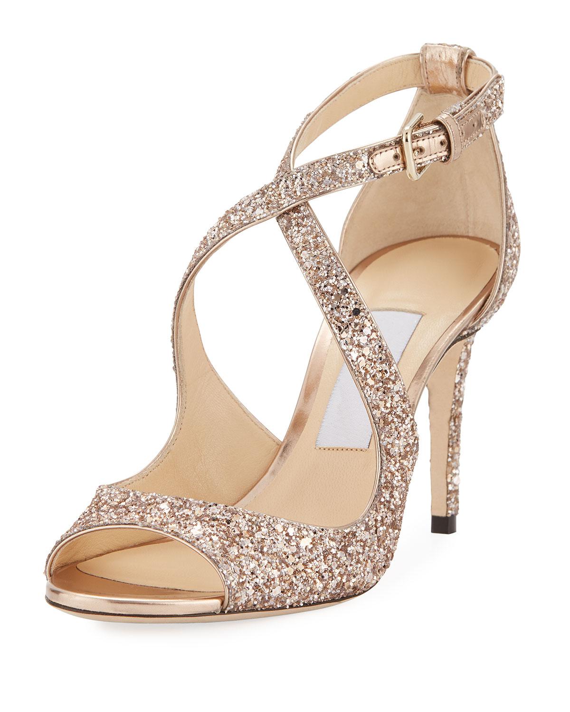 e262264a6acf Jimmy Choo Emily Coarse Glitter 85mm Sandal
