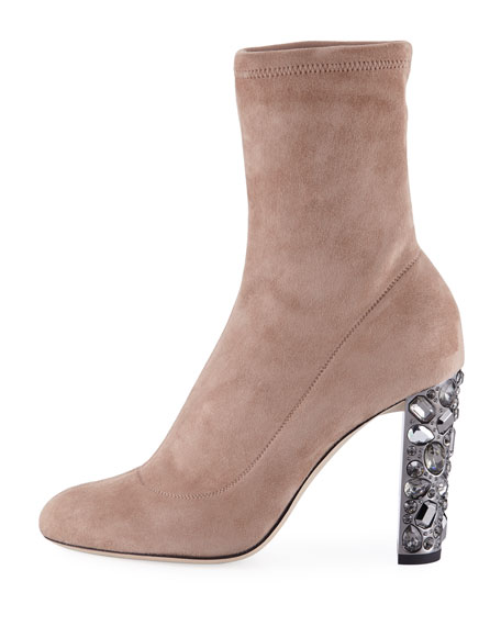 Maine Stretch Suede Booties with Crystal Heel