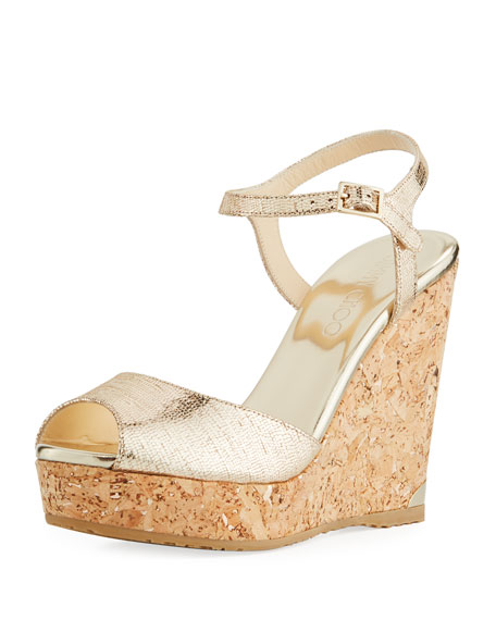 Jimmy Choo Perla Metallic Platform Wedge Sandal