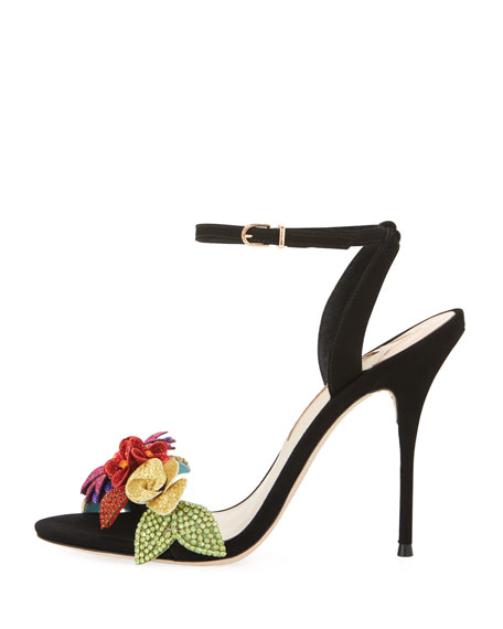 Lilico Glitter-Flower Ankle-Wrap Sandal