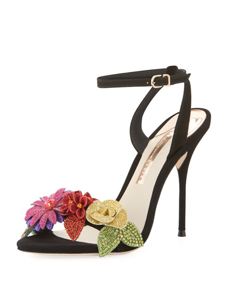 Sophia Webster Lilico Glitter-Flower Ankle-Wrap Sandal
