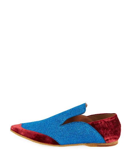 Drop-Back Colorblock Glitter/Velvet Loafer