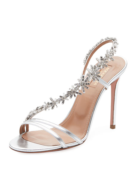 Chateau Crystal-Embellished Metallic Leather Sandals, Silver