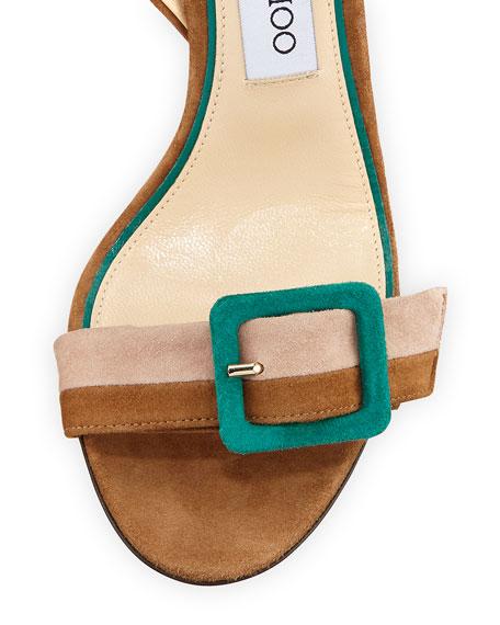 Dacha Block-Heel Suede Colorblock Sandal