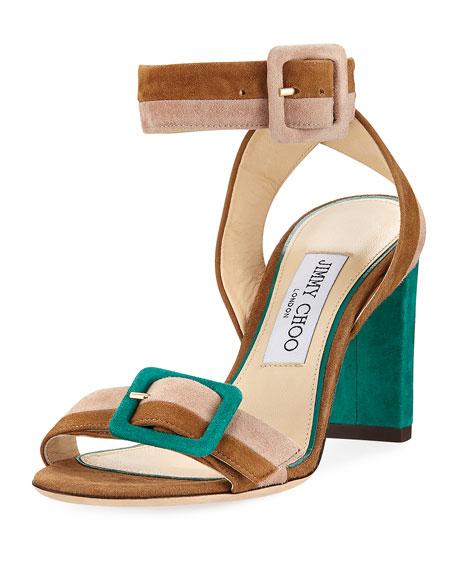 Jimmy Choo Dacha Block-Heel Suede Colorblock Sandal
