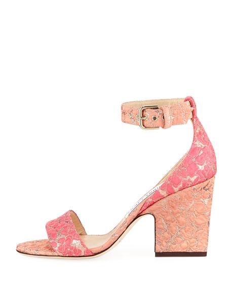 Edina Floral Jacquard Ankle-Wrap Sandal