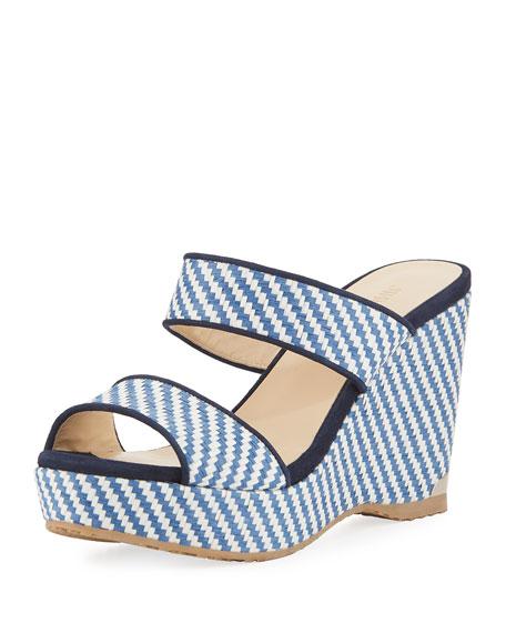 Jimmy Choo Parker Raffia Wedge Platform Slide Sandal