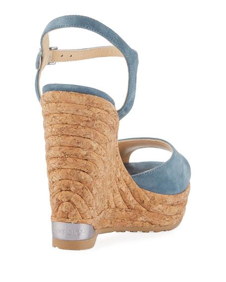 Perla Suede Wedge Sandal, Slate