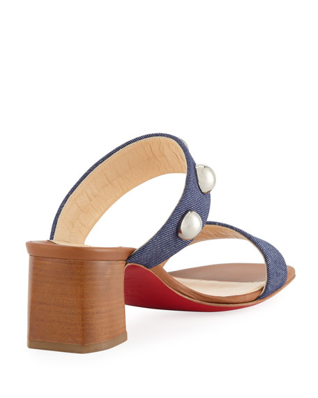 Simple Bille 55mm Denim Red Sole Slide Sandal