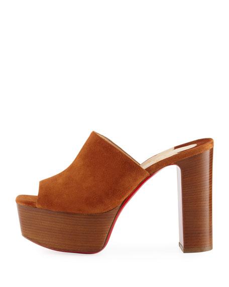 UK Suede Platform Red Sole Mule Sandal