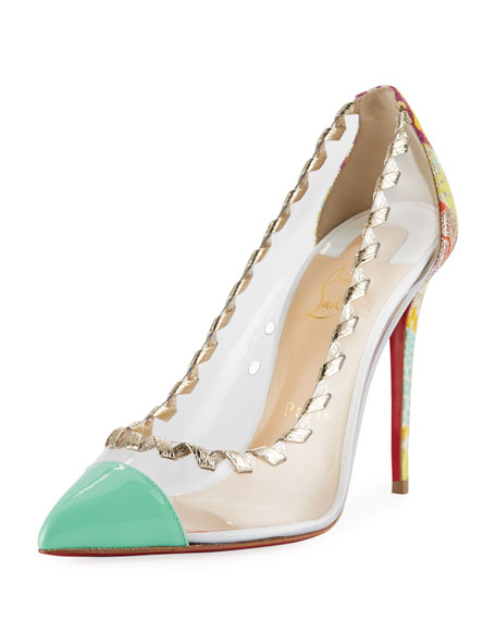 Christian Louboutin Lizabeth Colorblock Red Sole Pump, Platine