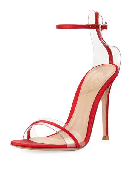 Gianvito Rossi Plexi Satin Ankle-Strap 105mm Sandal