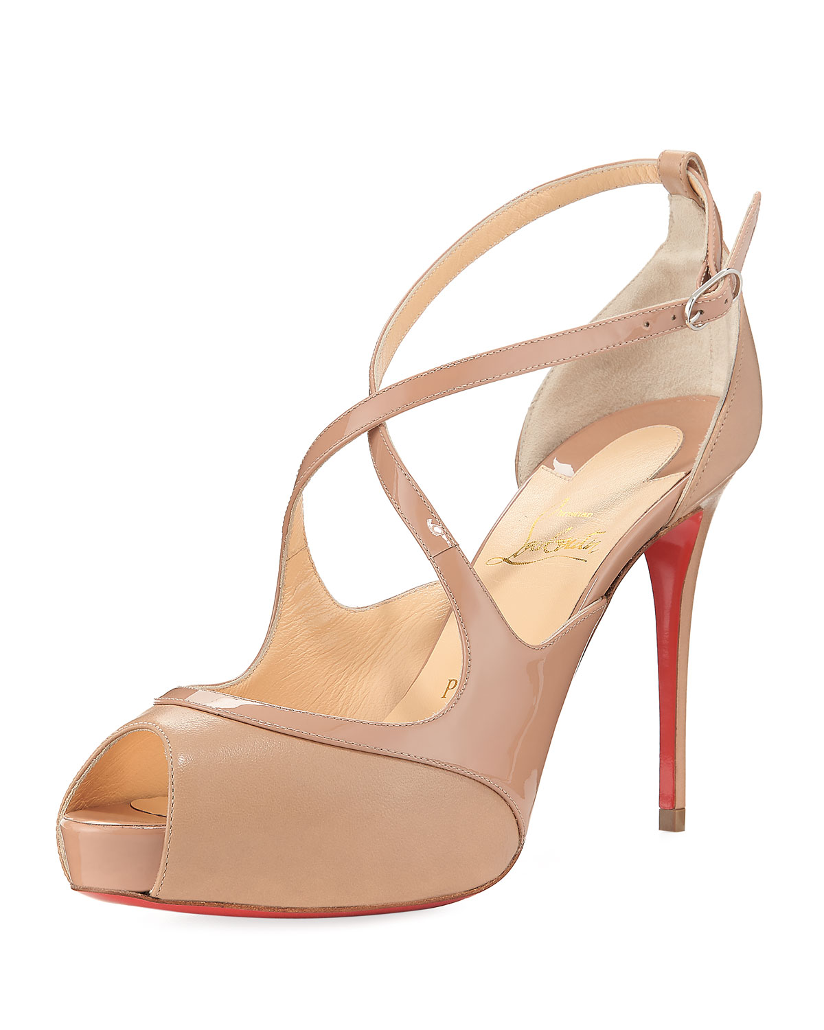 85e4a30df2f Christian Louboutin Mirabella Strappy Patent Red Sole Sandal ...