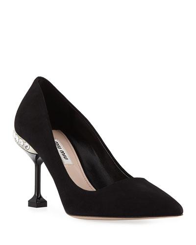 Suede Jeweled-Heel Pumps  Black