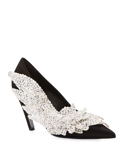 Embroidered Talon Slash Pump