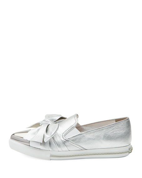 Metallic Leather Skate Sneakers, Silver