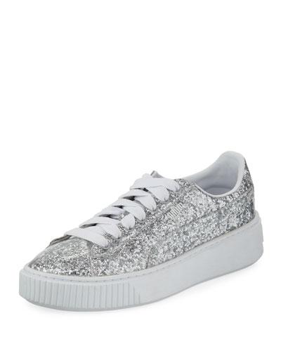 Basket Glitter Platform Sneaker, Gray Metallic