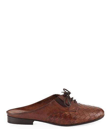 Neala Woven Slide Oxford Mule, Brown
