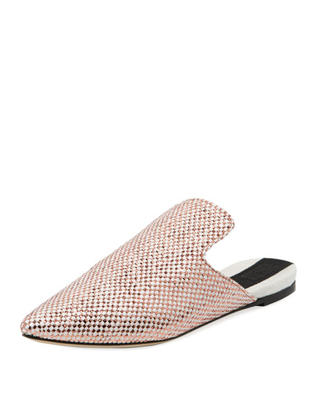 Bozza Metallic Brocade Flat Mule