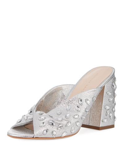 Laurel Crinkle Metallic Mule Sandal with Jewels