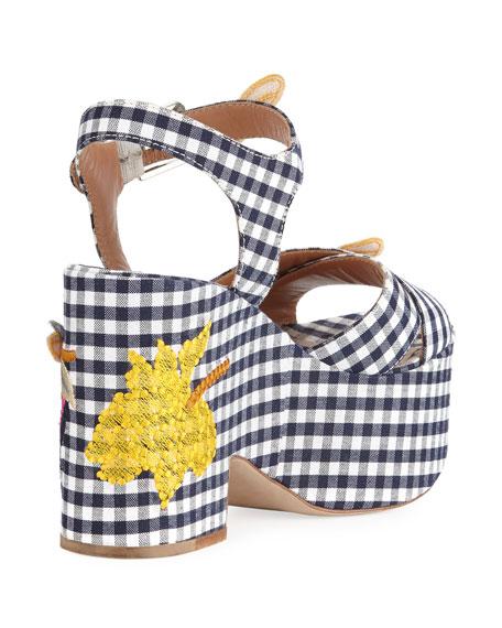 Helissa Gingham Embroidered Platform Wedge Sandal