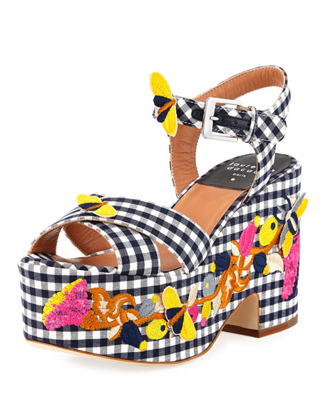 Laurence Dacade Helissa Gingham Embroidered Platform Wedge Sandal