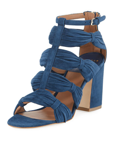 Rocky Ruched Suede T-Strap Sandal