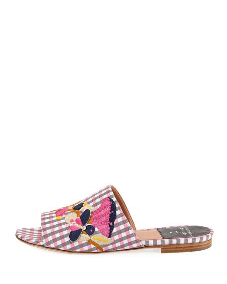 Nice Embroidered Gingham Slide Sandal