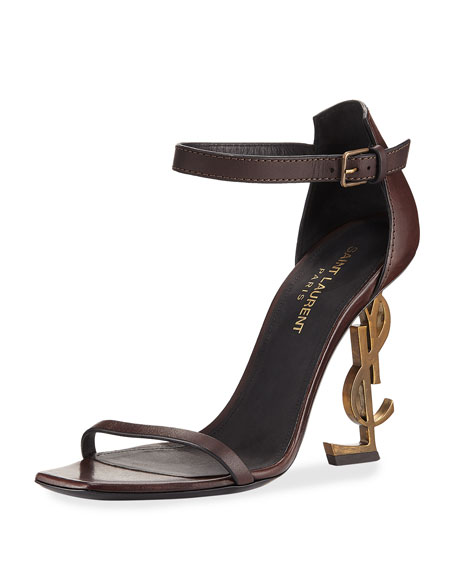 Saint Laurent Leather Sandal with Logo Heel
