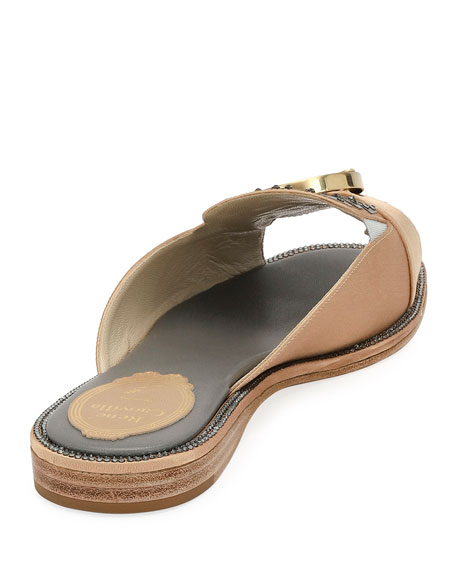 Satin and Wood Flat Slide Sandal