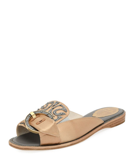 Rene Caovilla Satin and Wood Flat Slide Sandal