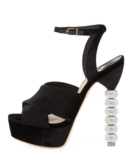 Natalia Velvet Sphere-Heel Platform Sandal