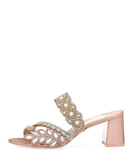 Eden Crystal-Embellished Satin Mule Sandal