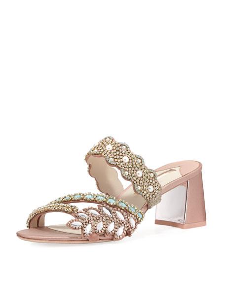 Sophia Webster Eden Crystal-Embellished Satin Mule Sandal