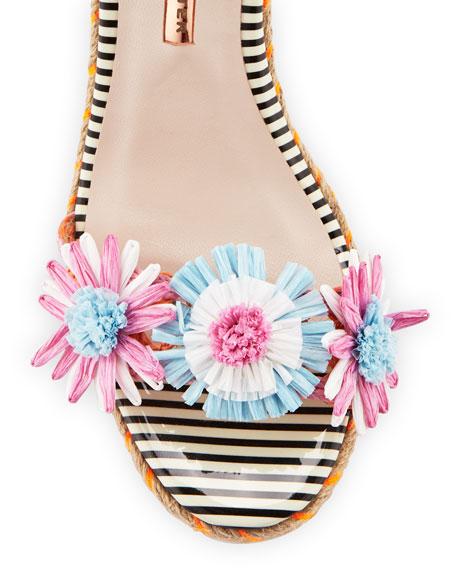 Lucita Flower Espadrille Sandal, Pink/Blue