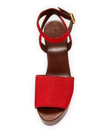 Camila Fur-Trim Platform 100mm Sandal