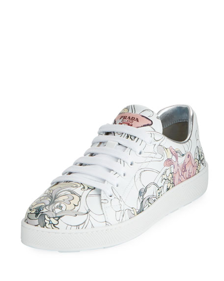 Prada Rabbit-Print Leather Low-Top Sneaker
