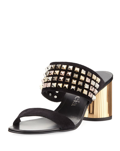 Xilana Studded Suede Mule Sandal
