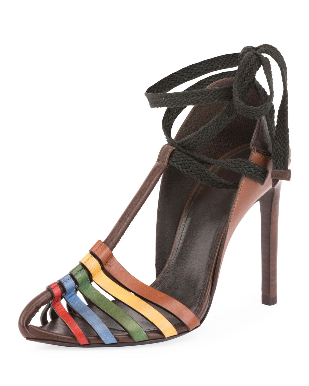 6b5772158da Saint Laurent Huarache Ankle-Tie Sandal