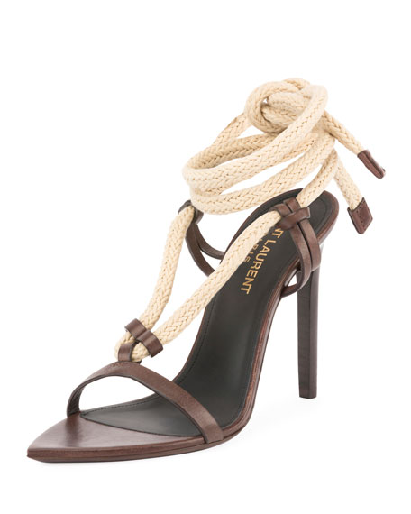 Saint Laurent Majorelle Leather Rope Sandal