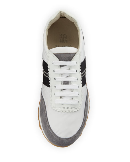 Suede and Nylon Platform Trainer Sneakers