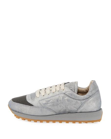 Metallic Leather Monili Trainer Sneakers