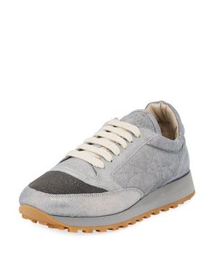 775badebd6d5 Brunello Cucinelli Metallic Leather Monili Trainer Sneakers
