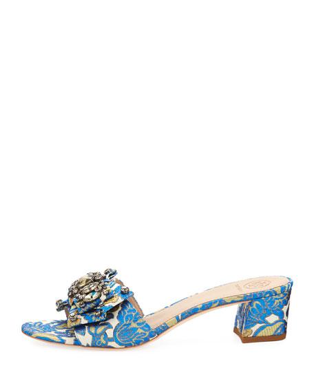 Valentina Jacquard Bow Slide Sandal